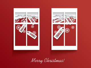 Christmas card vector design with two windows and sales stickers
