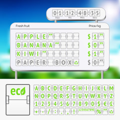Mechanical scoreboard green alphabet with numbers on white