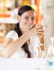 woman drink white wine