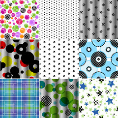 Set of nine seamless patterned texture