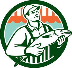 Fishmonger Holding Fish Circle Retro