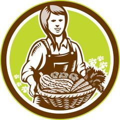 Organic Female Farmer Farm Produce Harvest Woodcut