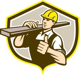 Carpenter Carry Lumber Thumbs Up Shield