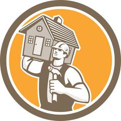 Builder Carpenter Carrying House Hammer Retro