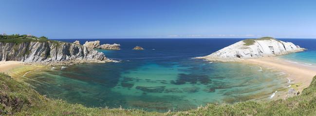 Cantabria coastline.Northern Spain.Wild beah panorama.