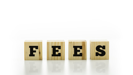 The word - Fees - on wooden blocks or cubes