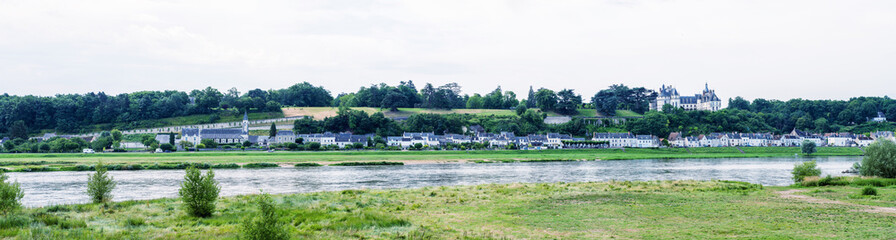 Panoramic view of medieval village over Loire river, France