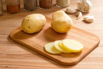Sliced new potatoes.