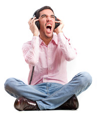 young man shouting with headphones
