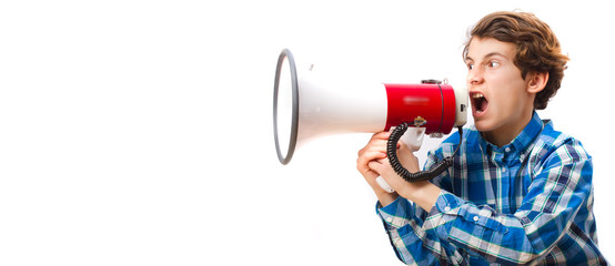 teenager with shouting megaphone