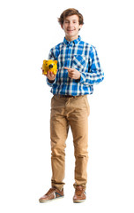 teenager holding a money box