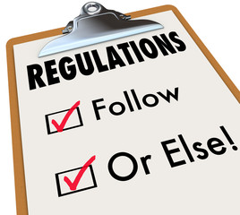 Regulations Follow or Else Checklist Boxes Evaluation Clipboard