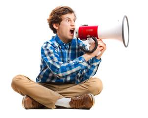 teenager shouting by megaphone