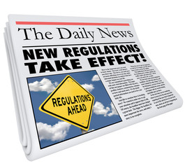 New Regulations Take Effect Newspaper Headline Information
