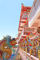 Chinese style dragon statue in temple