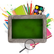 Leinwandbild Motiv School supplies with blackboard