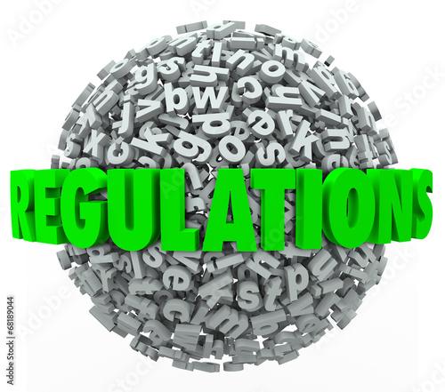 Постер, плакат: Regulations Word Letter Ball Sphere Rules Laws Guidelines, холст на подрамнике