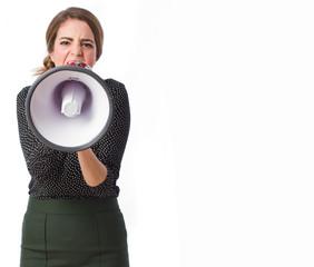 Girl holding a megaphone