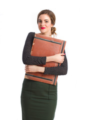 Young girl with a leather wallet