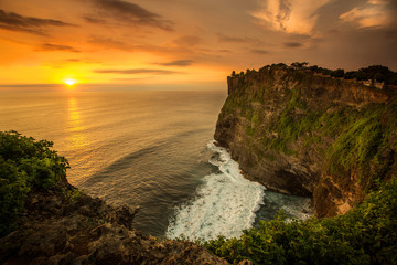 Beautiful Sunset at Uluwatu temple, Bali Indonesia