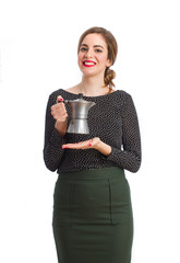 Young girl holding a kettle