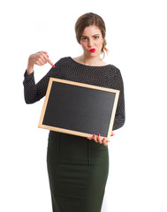 Young girl with a blackboard