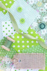 Accessories for needlework: fabric, tape, buttons, coil of threa