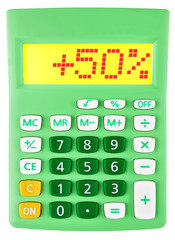 Calculator with +50% on display on white background