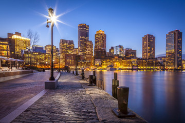 Panorama of Boston Harbor and Financial District in MA, USA