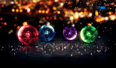 Baubles Christmas Night Bokeh Beautiful 3D Background