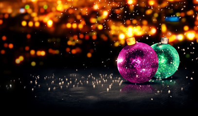 Baubles Christmas Night Bokeh 3D Background Purple Green