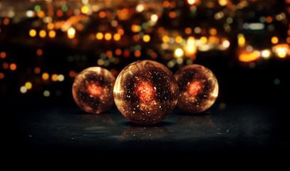 Three Orb Orange 3D Bokeh City Background