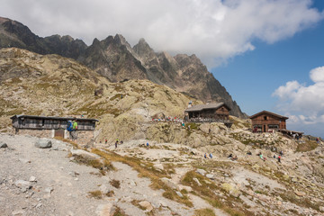 mountain huts in French Alps