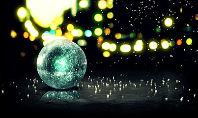 Blue Orb Snow 3D Bokeh City Background