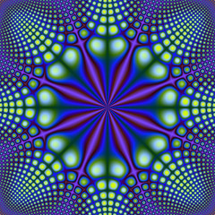 Yellow and Green Spots on Blue and Purple