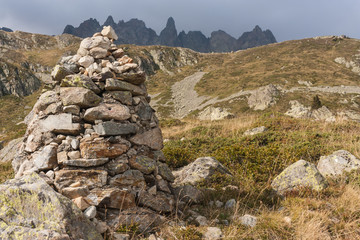 stony cairn in French Alps