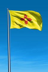 New Mexico (USA) flag waving on the wind