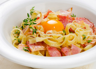 Pasta Carbonara on a white plate