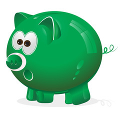 Piggy, money box, monney bank, green