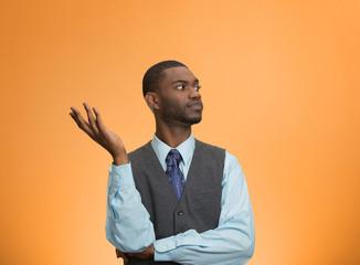 Clueless, arrogant, offended man, orange background
