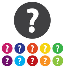 Question mark sign icon. Help symbol. FAQ sign. Round colorful