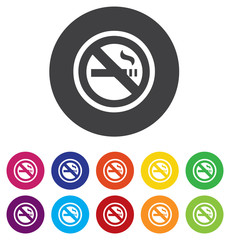Smoking sign icon. Cigarette symbol. Round colorful 11 buttons.