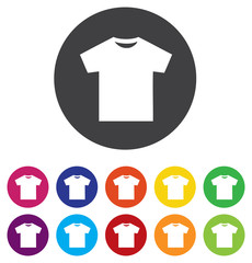 T-shirt sign icon. Clothes symbol. Round colorful 11 buttons.