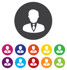 User sign icon. Person symbol. Human avatar. Round colourful 11