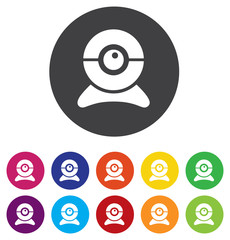 Webcam sign icon. Web video chat symbol. Camera chat.