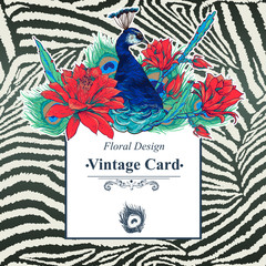 Floral Vector Vintage Card with Peacock