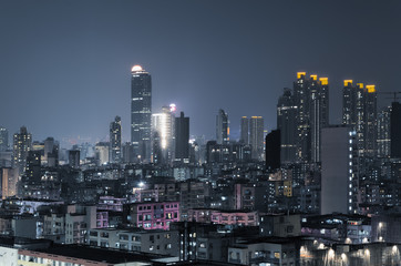 City night scene of Hong Kong