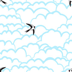 Heavenly seamless pattern with swallows and clouds