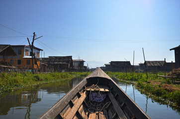 On Boat to seed floating village Inle Lake