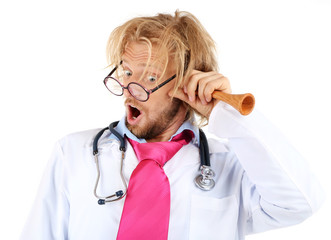 Funny doctor in glasses holding medical trumpet isolated